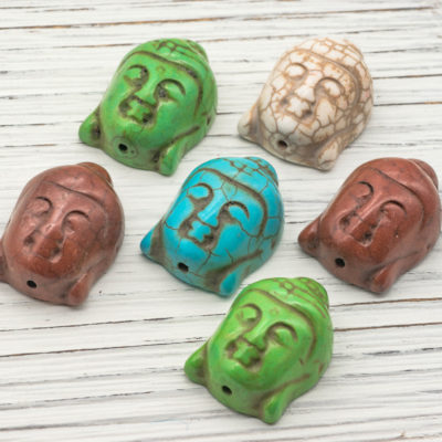 Buddha Head Beads, Earthy Colors,  30x22mm, 6pcs,    Howlite  Beads    -B157