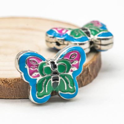 Butterfly Guru beads, 3 Hole Beads, Metal Craft Beads, 20 x15mm - B2072