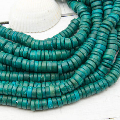 Coconut   Beads, Disc, 8mm, Dyed Aqua, 15 Inch Strand, Nut Beads -B1091