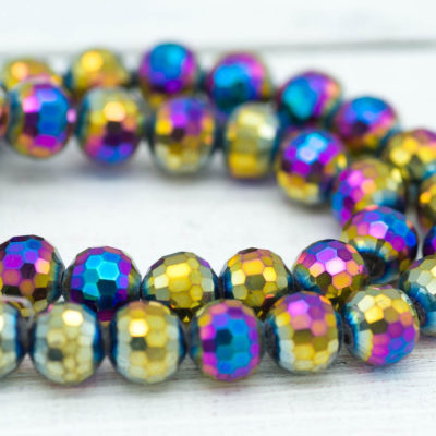 Crystal Glass Beads, Rainbow, 35pcs, 10x8mm,     Faceted Beads -B253