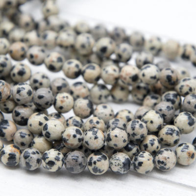 Dalmation Jasper Gemstone Beads, 6mm, 15 Inch Strand, 60pcs,  Round Gemstone Beads -P937
