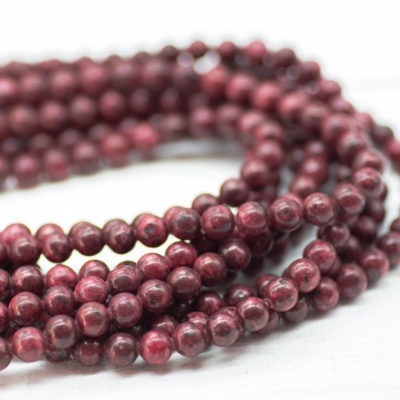 Dark Red Sesame Gemstone Beads, 6mm, 15 Inch Strand, 60pcs,  Round Stone Beads -P990
