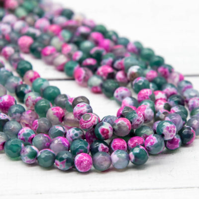 Faceted Agate Beads, 6mm, 14 Inch Strand, 60pcs,  Round Gemstone Beads -P931