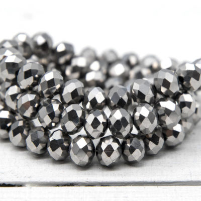 Faceted Glass Beads, 10x9mm, 25 Inch Strand, Silver,   Electroplated Beads -B946