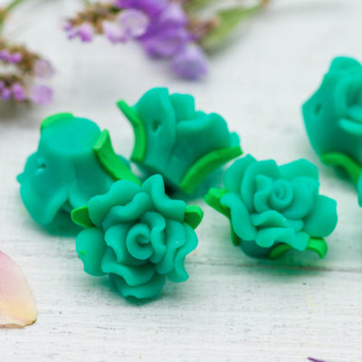 Flower Beads, 18 pcs, 15x10mm,  Polymer Clay Flowers, Aqua Green -B129