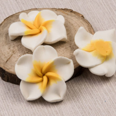 Flower Cabochon, Polymer Clay,  10 pcs, 30mm, Floral Beads, No Hole  - B30