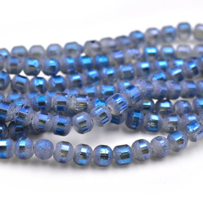 Frosted Glass Beads, 5mm Diameter, Electroplate, Blue, 0.5-1mm Hole, 18 inch strand -C662