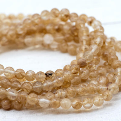 Gemstone Beads,  Watermelon Stone,  15 Inch Strand, 6mm Ball, Natural  Gemstone  -B992