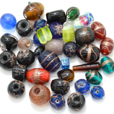 Glass Bead Mix, Mixed Sizes and Shapes,  Indian Glass Beads,   Grab Bag, Sold By Weight -B447