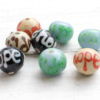 Glass  Beads, 8pcs, 14mm, 2mm Hole,  Word Beads, Hope,  Focal Beads -B351