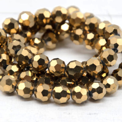 Glass Beads, Faceted Glass, 10x9mm, 25 Inch Strand, Gold Beads,   Electroplated Beads -B946