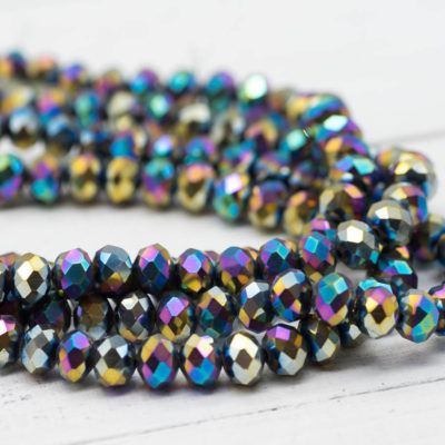 Glass Crystal Beads, 8x6mm, 17 Inch Strand,    Electroplated Sparkly Beads -B972