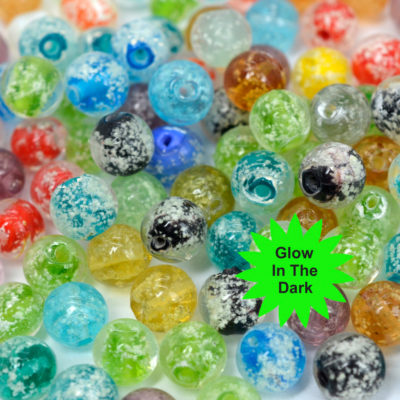 Glow in The Dark  Beads, 50pcs,  8mm, Mixed   Color,  Luminous Beads -B2042