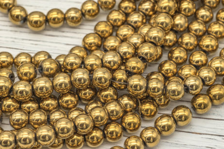 Gold beads 8mm, 1 Strand, Hematite, Gold Color Plated, Round 8mm Beads -B2025