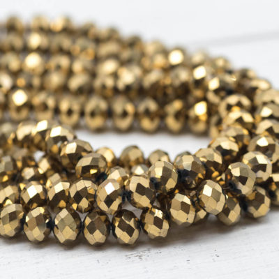 Gold Glass  Beads, 8x6mm, 17 Inch Strand,    Electroplated   Beads, Cut Glass, Crystal beads, Jewelry Making Supply -B971