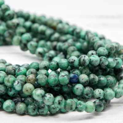 Green Sesame Gemstone Beads, 6mm, 15 Inch Strand, 60pcs,  Round Gemstone Beads -P938