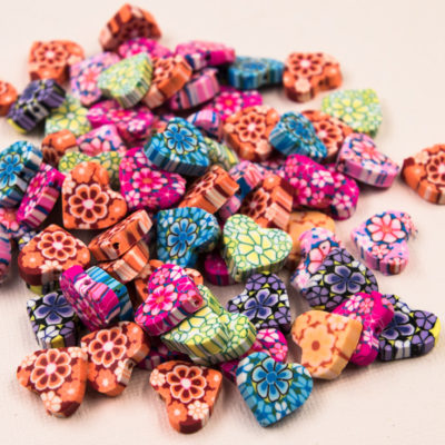 Heart  Beads,  50pcs, 15x8mm,   Polymer Clay Beads, Mixed Colors -B824