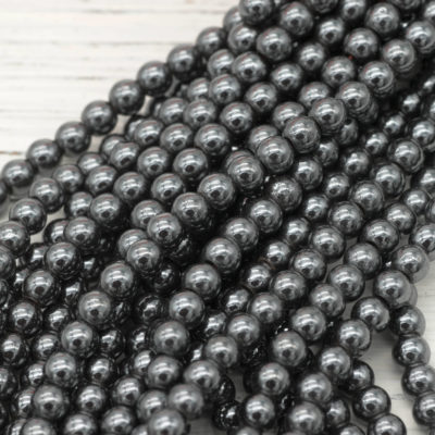 Hematite  Beads 5mm, 1 Strand, 100pcs, Small Round Beads, Grey Beads -B2033