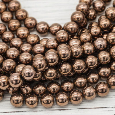 Hematite  Beads 8mm, 1 Strand, Copper Color Plated, Round 8mm Beads -B2024