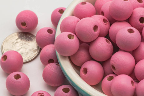 Large Wood  Beads,  13x14mm, 4mm Hole,  60pcs, Pink  Wooden Beads -B2012