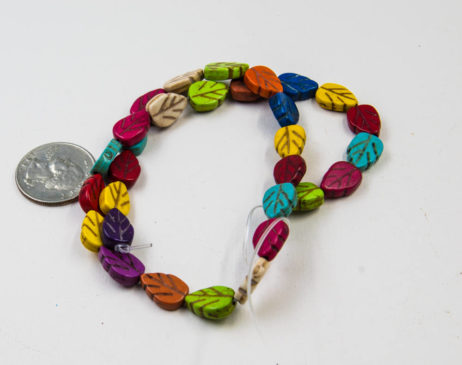 Leaf Beads, 13x8mm, 30pc Strand, Mixed Color,  Howlite Stone Beads -B872