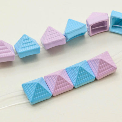 Metal Stud Beads, 10pcs, 10x10x10mm, Pink and Blue Studs,  Two  Hole, Bracelet Studs -B572