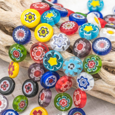 Millefiori Glass Beads, Flower Pattern, 13x4mm, Mixed Color, 32pc Strand