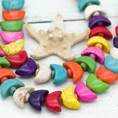 Moon Beads,  Howlite Gemstone Beads, Colorful Beads, Moon Shape Beads, Celestial Beads, Howlite Stone, 20x12mm -B246