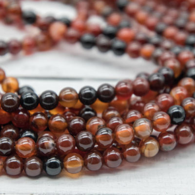 Natural Brown Agate Beads, 6mm, 15 Inch Strand, 62pcs,  Round Gemstone Beads -P932