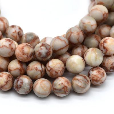 Netstone Beads, 46pcs, 8mm, Polished Round Beads, 16 Inch Strand, 1mm Hole -C666