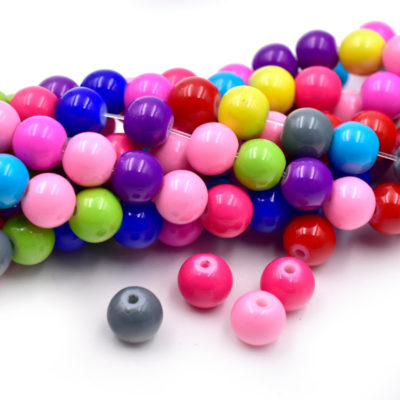 Painted Glass Beads, 8mm, Vibrant Colors, 15 inch Strand, 1mm Hole -b600