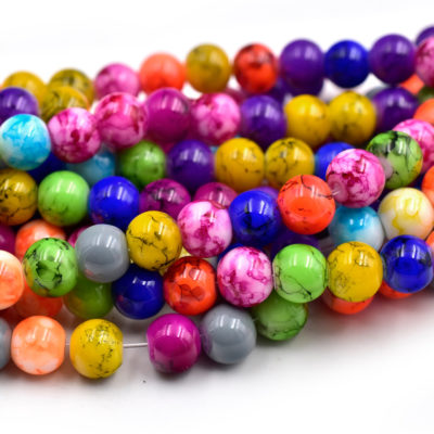 Painted Glass Beads, 8mm, Vibrant Colors, 15 inch Strand, 1mm Hole -C632