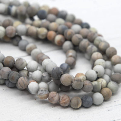 Picasso Natural Gemstone  Beads, 6mm,  15 Inch Strand, 60pcs, Natural Shades  -P917
