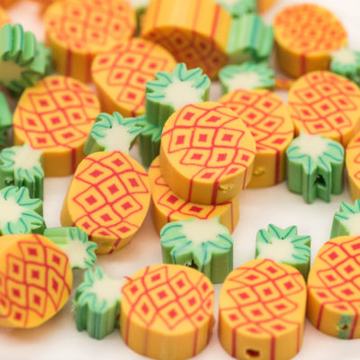 Pineapple Beads, Fruit Beads, Polymer Clay, 50pcs, 13x8mm -B2065