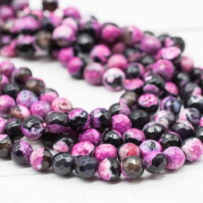 Pink and Black Agate Beads, 6mm, 14 Inch Strand, 60pcs,   Gemstone Beads, Dyed Stone, Jewlry Making Supply -P966
