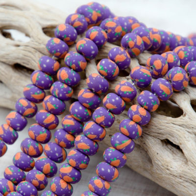 Polymer Clay  Beads,  Abacus Shape, 8x6mm,  Purple Orange,   Fimo Beads, 62pc Strand