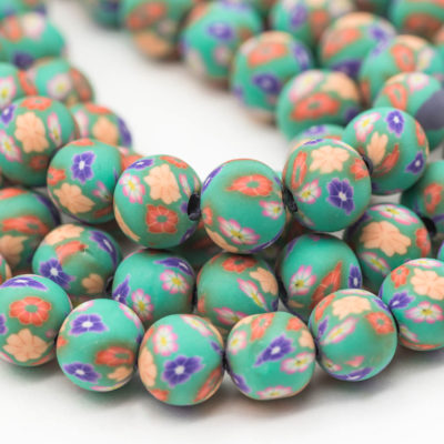 Polymer Clay  Round Beads,  aqua  Beads, 9mm,   1 Strand, Jewelry Beads