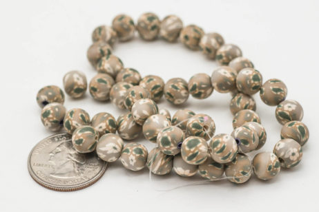 Polymer Clay  Round Beads,  Light Brown  Beads, 9mm,   1 Strand, Jewelry Beads