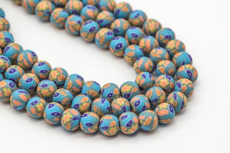 Round Polymer Clay  Beads,  Blue Floral  Beads, 9mm,   1 Strand, Jewelry Beads