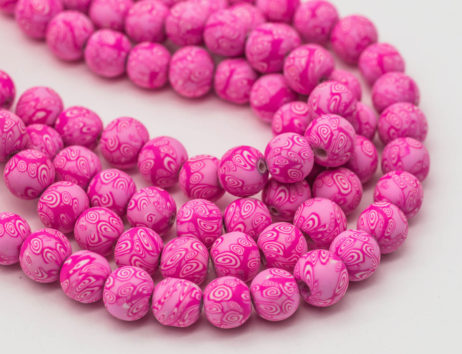 Round Polymer Clay  beads, Pink Beads, 9mm,   1 Strand, Jewelry Beads