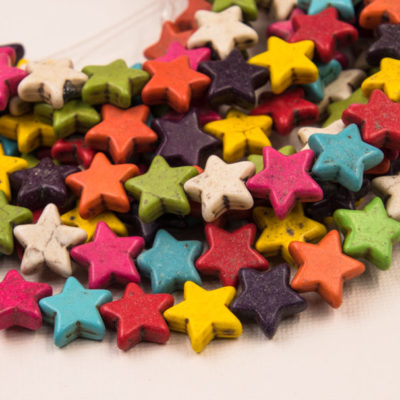 Star Beads, 15mm, 32pc Strand, Mixed Color,  Howlite   Stone Beads -B861