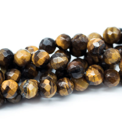 Tiger Eye Beads, 8mm,   50pc Strand, 1mm Hole, Faceted Beads- B785