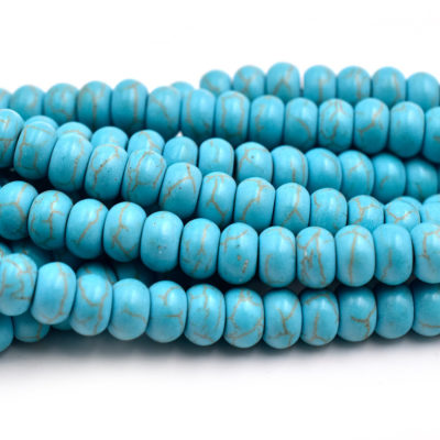 Turquoise Abacus Beads, 15 Inch Strand, 8x5mm, Howlite Beads, 1mm Hole -C613