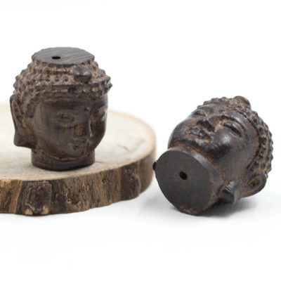 Wood Buddha Beads, 2pcs, Buddha Head, 23x18mm, Wood Pendants -B1033