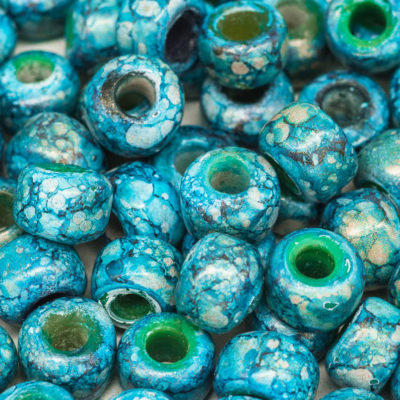 Aqua Blue Crow Beads, 50pcs,   Glass Beads, 9mm Pony Beads, 3mm Hole, Round Beads -B2157