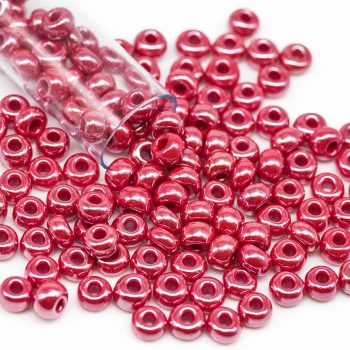 Czech Seed Beads, Glass Seed Beads, 6/0, Czech,  1 Tube, Pearl Red -B2187