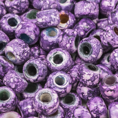 Marbled Crow Beads, 50pcs, Purple Glass Beads, 9mm Pony Beads, 3mm Hole, Round Beads -B2166