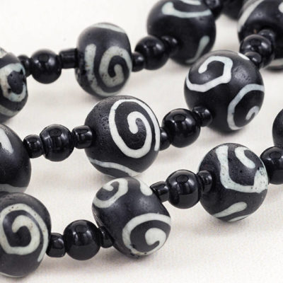 Spiral Glass Beads,  Tribal Style,  7pc Strand,  12x8mm,  2mm Hole,  Spacer Beads -B2140