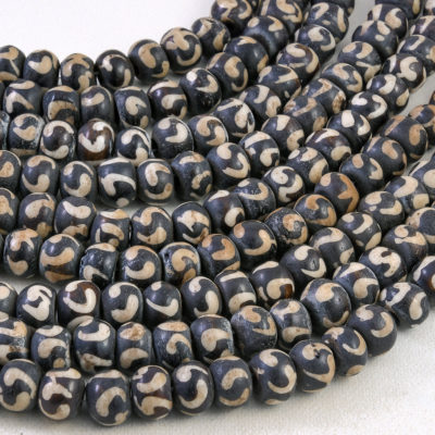 Batik Bone Beads, 10x8mm, 52pc  15 inch Strand,  Round Bone Beads, 2mm Hole -BN173
