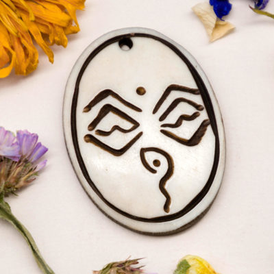 Buddha Eyes Pendant,  Bone Pendant,  1pc, 37x28mm, Natural Color,  Necklace Pendant -P427